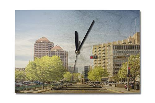 Lantern Press Albuquerque, New Mexico Downtown Photograph A-89914 (10x15 Wood Wall Clock, Decor Ready to Hang)