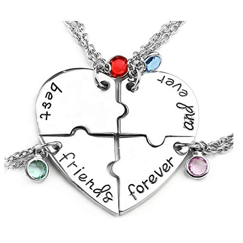 Jovivi 4pcs/Set Best Friend Forever and Ever Necklaces Heart Puzzle BBF Friendship Pendant Necklace Jewelry