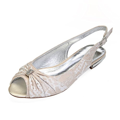 MarHermoso Womens Peep Toe Satin Ballet Pleated Bow Knot Champagne Lace Flat ()