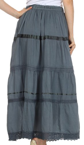 AA554 - Solid Embroidered Gypsy / Bohemian Full / Maxi / Long Cotton Skirt - Gray/One Size Photo #4