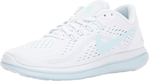 Nike Women's Flex 2017 RN Running Shoe (8 M US, White/Glacier Blue-Blue Tint) (Flat Shoe Laces Nike)