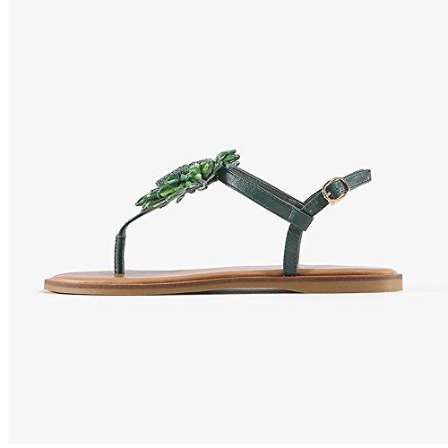 hebilla cómodas Sandalias de botón con PU A CN38 un Sandalias Clip C mujer Bottom EU38 Zapatos Toe UK5 Tamaño Summer Flat 5 ZHIRONG Color de AO5qn5