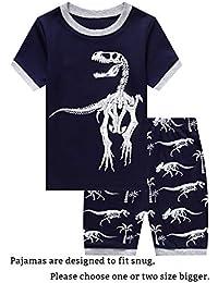 Little Big Boys Summer Snug-Fit Pajamas Short 100% Cotton Kids Pjs Sets fd435979a