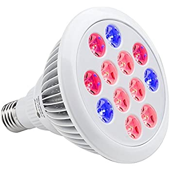 TaoTronics Led Grow lights Bulb , Grow Lights for Indoor Plants, Grow Lamp for Hydroponics Greenhouse Organic, Plant Lights ( E27 12w 3 Bands)