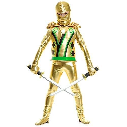 Gold Ninja Avenger Costume Kids Ninjago Halloween Fancy Dress]()