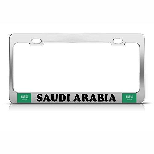 Moon Saudi Arabia Flag Heavy Duty Steel Chrome License Plate Frame Tag Border Perfect for Men Women Car garadge Decor
