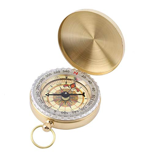 Smartlove1P Outdoor Hiking Camping Accessories Classic Brass Pocket Watch Style Luminous Camping Compass Hiking Perfect Outdoor Navigation Tool CH