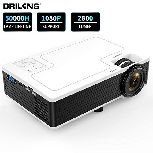 Movie Projector BRILENS Full HD 1080P Mini Projector LED Portable Home Theater Indoor Outdoor Compatible with HDMI USB VGA AV TV TF 30,000 Hours for Cinema Laptop Game 300″ Image Dispay