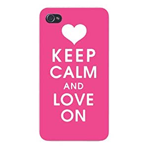 Apple Iphone Custom Case 5c White Plastic Snap on - Keep Calm and Love On w/ Pink & Heart