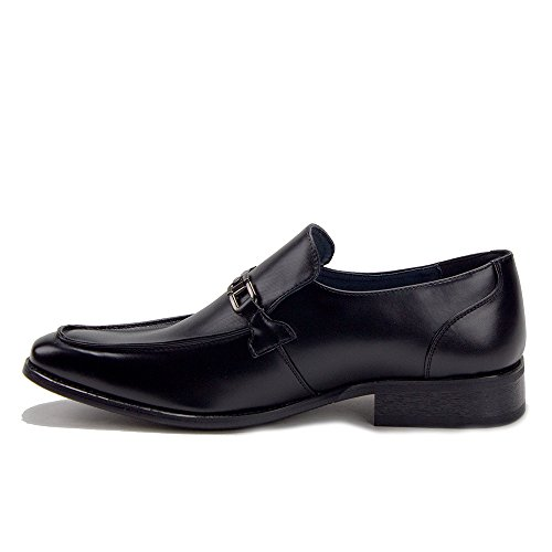 Jaime Aldo Hombres Vw124 Classic Horse Bit Hebilla Slip On Dress Mocasines Zapatos Negro