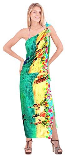 señoras likre vestido de natación pareo hawaiano de la falda del abrigo ropa de playa crucero sol del bikini Bleu|Nous: 36W (3X) / Uk: 38