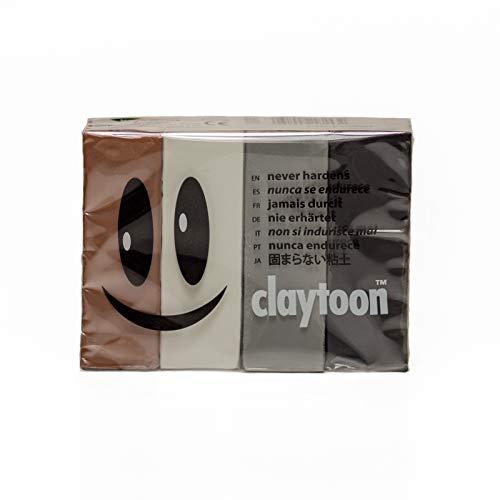 Van Aken International - Claytoon - Non-Hardening Modeling Clay - VA18153 - Neutral - Brown, White, Silver Gray, Black - 1 Pound Set (4-1/4 Pound Bars) - claymation, Gluten-Free, -