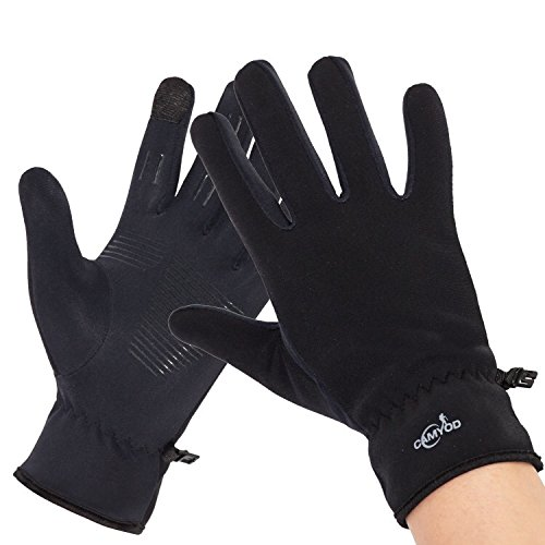 CAMYOD Windproof Softshell silicon grip Touch Gloves - Winter Thermal Gloves For Outdoor, Cycling, Running, Men and Women (S)