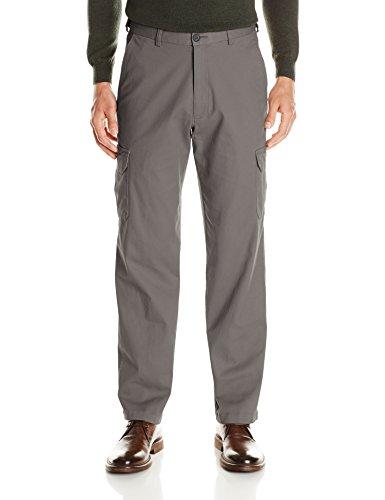 Comfort Fit Stretch Pants - Haggar Men's Stretch Comfort Cargo Expandable Waist Classic Fit Plain Front Pant, Medium Grey, 34x29