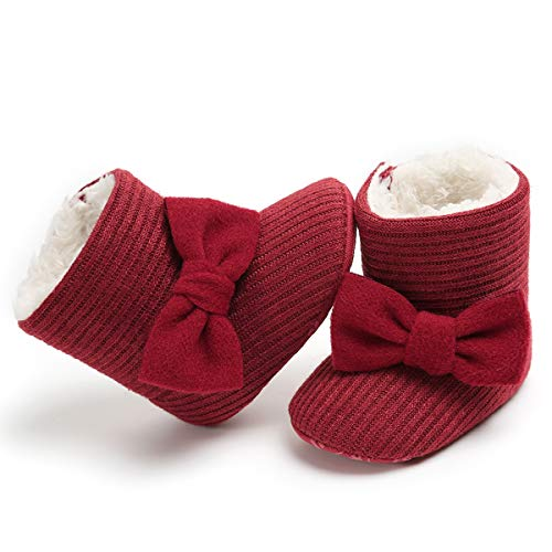 LIVEBOX Newborn Baby Cotton Knit Booties,Premium Soft Sole Bow Anti-Slip Warm Winter Infant Prewalker Toddler Snow Boots Crib Shoes for Girls Boys by LIVEBOX (Image #3)