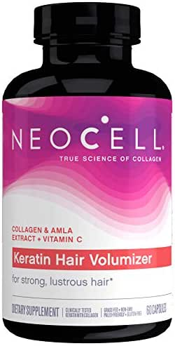 NeoCell Keratin Hair Volumizer, Enhance Hair Strength, Grass-Fed Collagen, Gluten Free - 60 Capsules (Packaging May Vary)