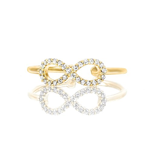 PAVOI 14K Yellow Gold Plated Adjustable Infinity Love Knot Ring - Yellow