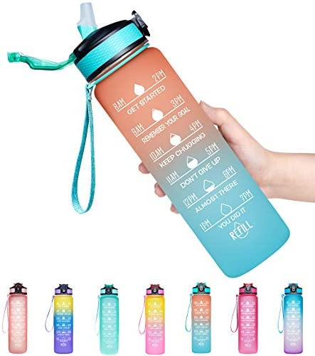Giotto 32oz//22oz Leakproof BPA Free Drinking Water Bottle with Time Marker