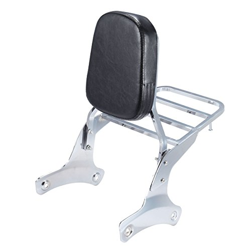 Iglobalbuy Chrome Backrest Sissy Bar Luggage Rack for Honda Shadow ACE VT750 1998-2003 VT 400 VT 750