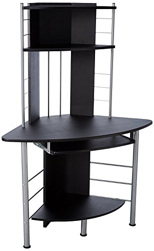 r Compact Modern Corner Computer Workstation Desk With Keyboard Tray And Shelves - Black ()