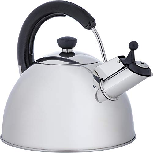 ONVAYA Hervidor de agua de acero inoxidable, 2,5 l, hervidor de agua, tetera clasica con silbato y silbato para induccion