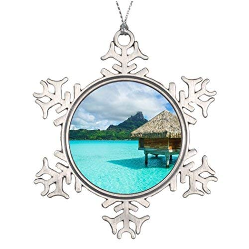 Blafitance Christmas Snowflake Ornaments Ideas for Decorating Christmas Trees Over-Water Bungalow Bora Bora Photo Snowflake Ornaments]()