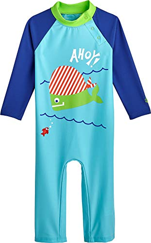 (Coolibar UPF 50+ Baby Beach One-Piece Swimsuit - Sun Protective (12-18 Months- Ice Blue Pirate Fish))