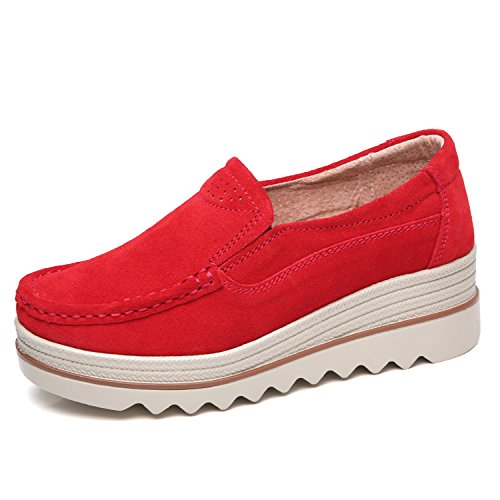 Red Suede Wedge (Sanyes Women Platform Slip On Loafers Comfort Suede Moccasins Wide Low Top Wedge Shoes SYSGX3088-Red-42)