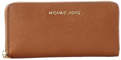 MICHAEL Michael Kors Jet Set Saffiano Travel ZA Continental Brown One Size
