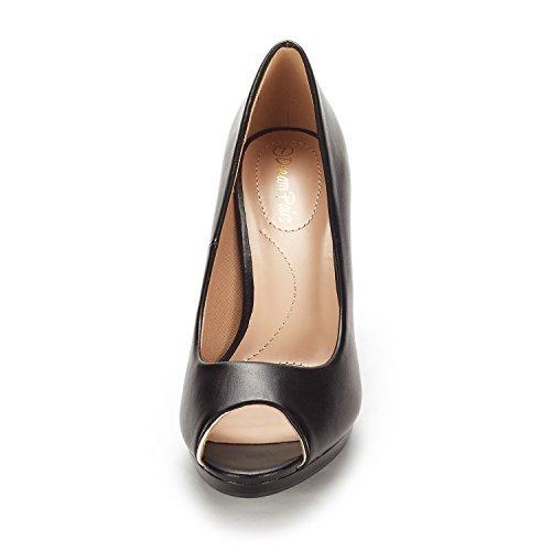 DREAM PAIRS Women's City_OT Black PU Fashion Stilettos Peep Toe Pumps Heels Shoes Size 9.5 B(M) US by DREAM PAIRS (Image #2)