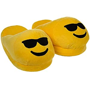 Emoji House Slippers Funny Soft Plush For Adults Kids Teens Bedroom Smiley Sunglasses Women's L: Fits 9-10