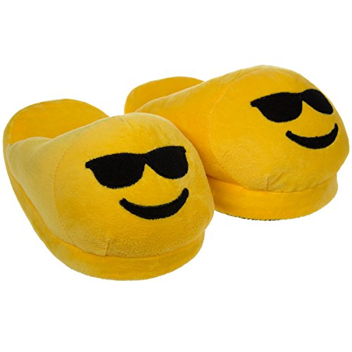 Emoji House Slippers Funny Sunglasses Smiley  Girls M: Fits sizes (Glass Slipper Shoes Retail)
