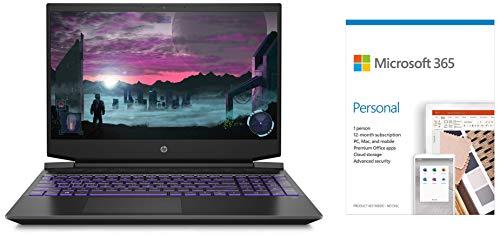 HP Pavilion Gaming 15.6-inch FHD Gaming Laptop (Ryzen 5-4600H/8GB/1TB HDD + 256GB SSD/Windows 10/144Hz/NVIDIA GTX 1650ti 4GB/Shadow Black)Microsoft 365 Personal-One Year Subscription Included