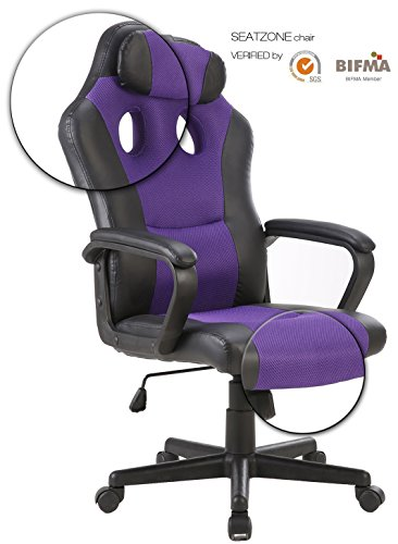 SEATZONE Gaming Chair, Racing Style Large Bucket Seat Computer Desk Chair, PU Leather Executive Office Swivel Chair Including Headrest, Purple