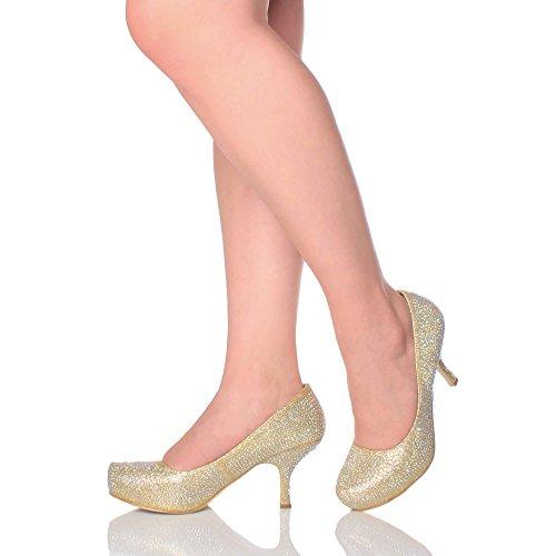 Damen Kleiner Mittel Absatz Versteckte Plateau Arbeit Fesch Schuhe Pumps Größe Gold mit Strass