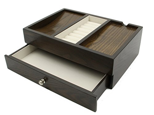 Executive Mens Oak Wood Valet Storage Organizer Men's Jewelry Box (OAK GRAIN)