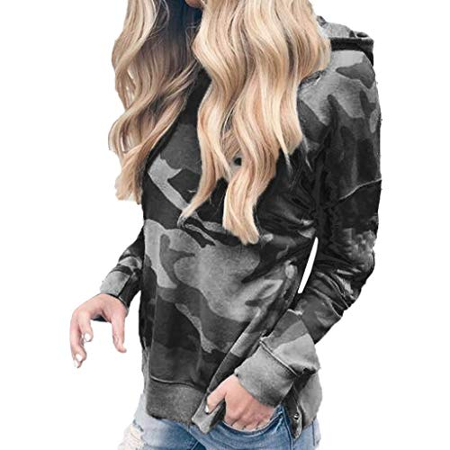 (COPPEN Women Blouse Long Sleeve Hooded Fashion Camouflage Print Sweatshirt)