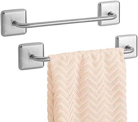 mDesign Juego de 2 toalleros de baño sin taladro – Toallero adhesivo para paños de cocina y toallas de invitados o de sauna – Resistente secatoallas ...