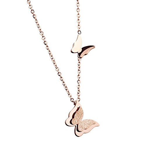 (WDSHOW Butterfly Pendant Necklace Rose Gold Filled Stainless Steel 16-18 inches)