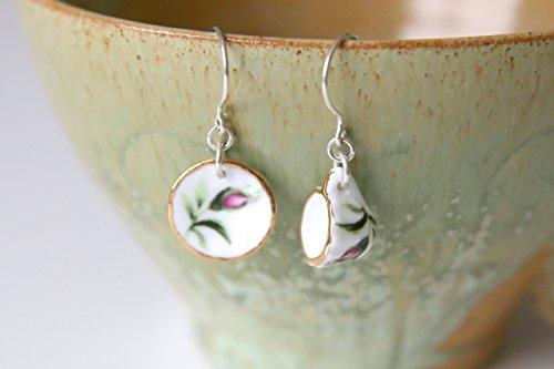 (Rosebud Tea For One Earrings - Pink Green Flower Tea Cup Dollhouse Miniature Earrings, Handmade Sterling Silver Porcelain Jewellery by Ikuri immortelle, FREE SHIPPING)