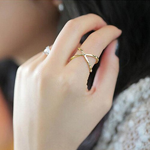Botrong® Women Finger X Cross Three-dimensional Hollow Out Ring (Gold)