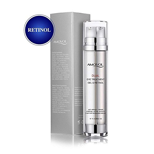 Eye Cream with Retinol for Dark Circles, Puffiness, Wrinkles and Bags, Day & Night Anti-Aging Eye Dual Treatment Gel for Under and Around Eyes, Best Gifts for Women and Men, 2 x 0.85oz ()