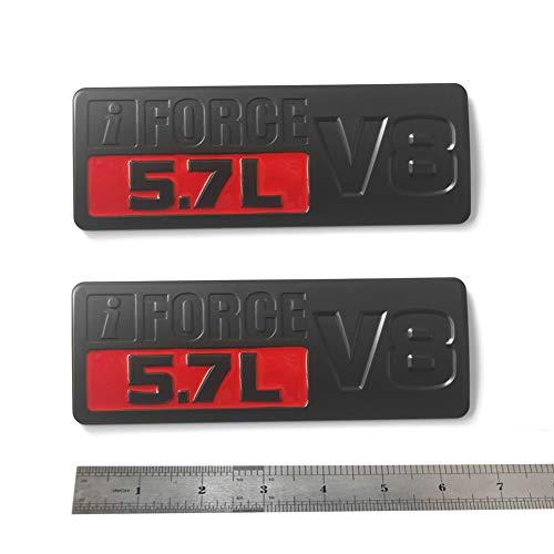 2pcs OEM Black Red 5.7L V8 Emblem Badge Side 3D Logo Replacement for Tundra Trd Pro Iforce