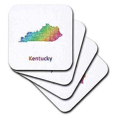 3dRose David Zydd - Map Designs - Kentucky State Map - rainbow sketch design - Coasters