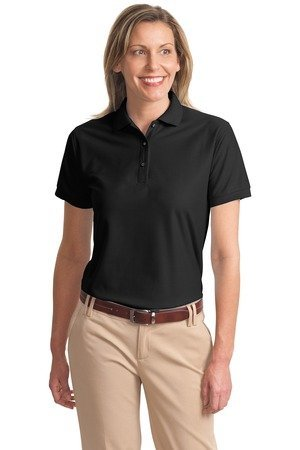 Port Authority Womens Comfortable Silk Touch Sport Polo Shirt  Black  Medium