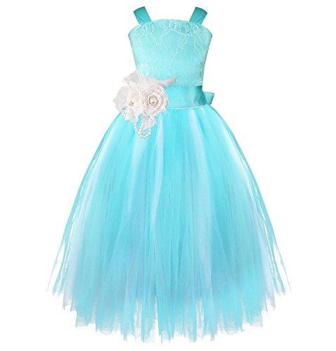 [YiZYiF Flower Girl Dress Pageant Wedding Formal Occasions Feather Sash Fluffy Gowns Blue 8] (Blue Fancy Dress)