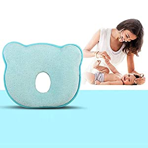 Baby Pillow, Newborn Baby Head Shaping Pillow Preventing Flat Head Syndrome (Plagiocephaly) for Your Newborn Baby,Made of Memory Foam Head- Shaping Pillow and Neck Support (0-12 Months) (Blue)