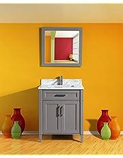 Vanity Art 30 Inch Bathroom Vanity Set with Carrara Marble Stone with Free Mirror VA2030