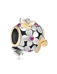 Butterfly Flower Charm Rose Pink Birthstone Crystal Sale Cheap Bead For Bracelets