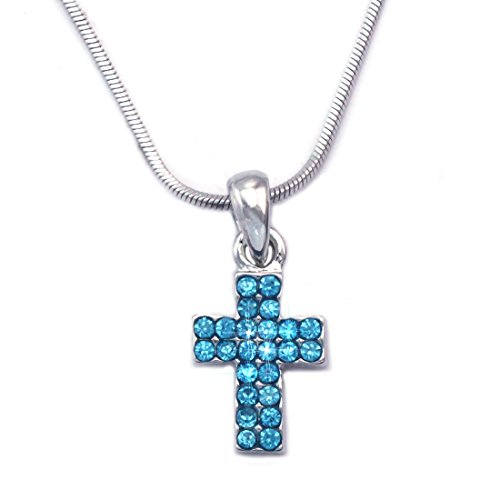cocojewelry Small Cross Pendant Necklace Jewelry for Girls (Aqua) -